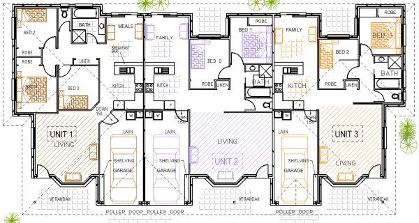 Triplex plans duplex triplex pinterest duplex design for Triplex floor plans