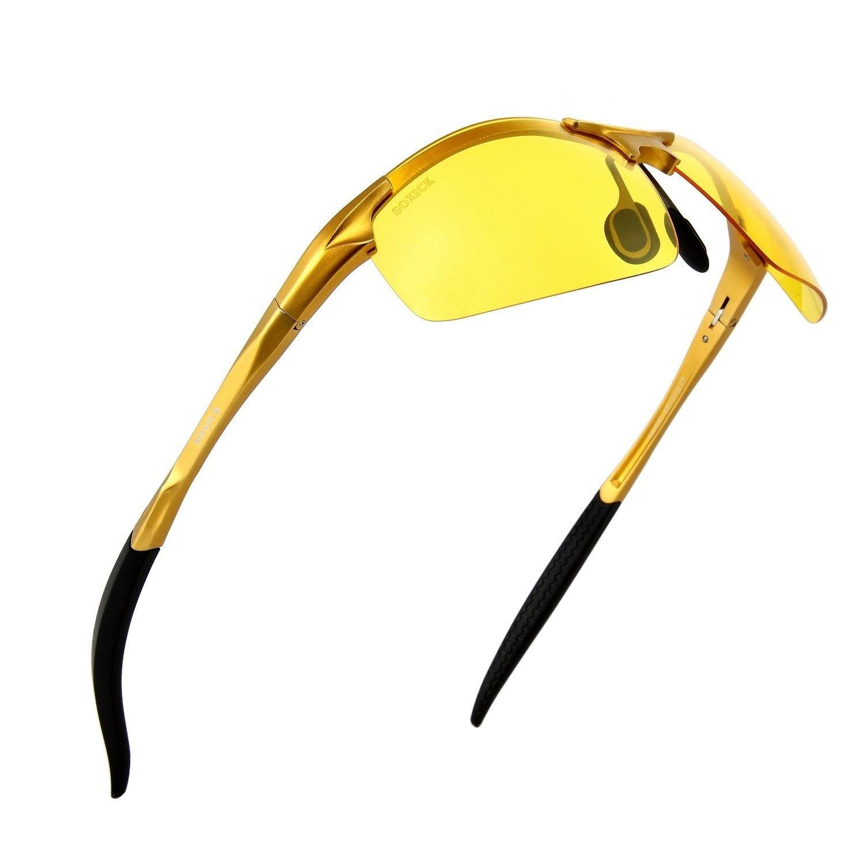 31f4972fca Men s HD Polarized Night Driving Glasses Anti Glare Soxick Night View  Sports Sunglasses - Golden Frame - C512O2JN9TS - Men s Sunglasses
