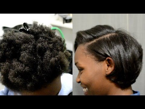 NATURAL HAIR | RUBBERBAND ROLLERSET + SILK WRAP | GET STRAIGHT HAIR ...