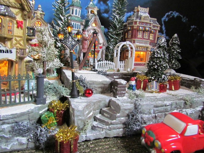 BRICK wall, Christmas Building Village Display, Dept 56, DISPLAY BASE Platform 28x12, Dickens, Snow Village, Lemax Miniature City stand, VSx