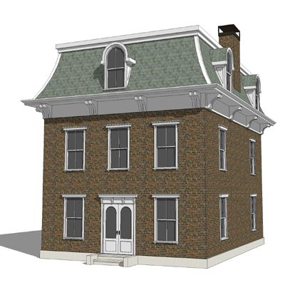 Mansard roof style brick home house style mansard for Mansard style homes