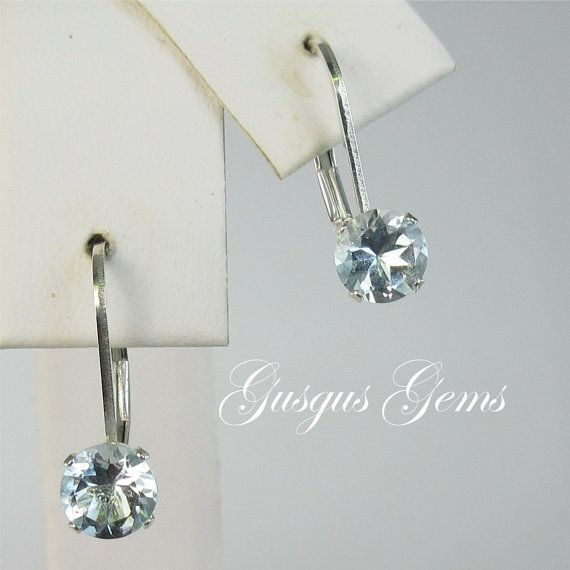 Aquamarine 5mm Sterling Silver Leverbacks .95ctw by Gusgusgems