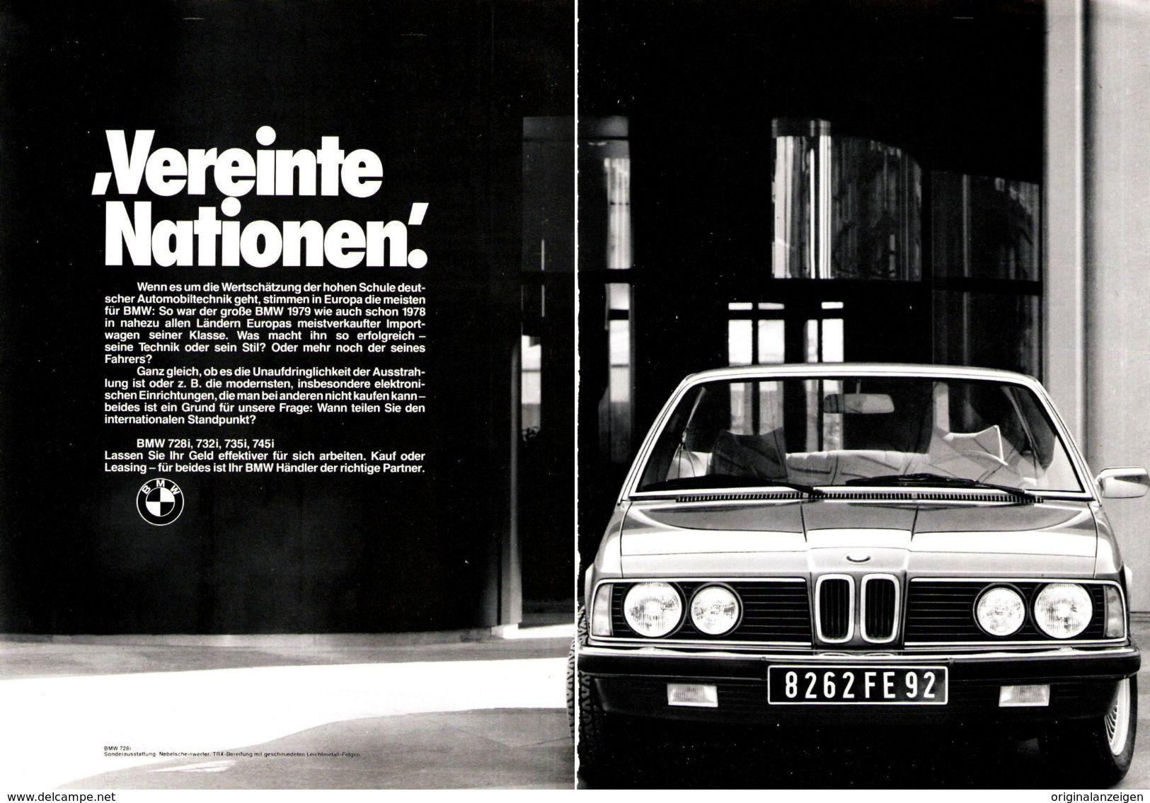 Original Werbung Anzeige 1980 Doppelseite Nicht ZusammenhÄngend 7er Bmw Ca 360 X 240 Mm Werbung
