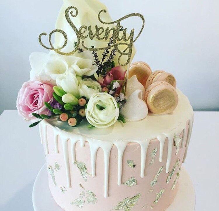 Seventy 70 Cake Topper - Gold Glitter - 70th Birthday cake ...