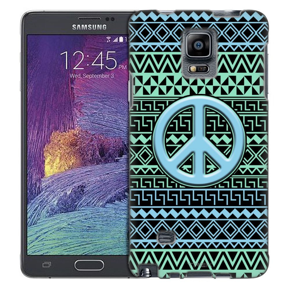 Samsung Galaxy Note 4 Peace on Aztec Andes Green Turquoise Tribal Black Slim Case