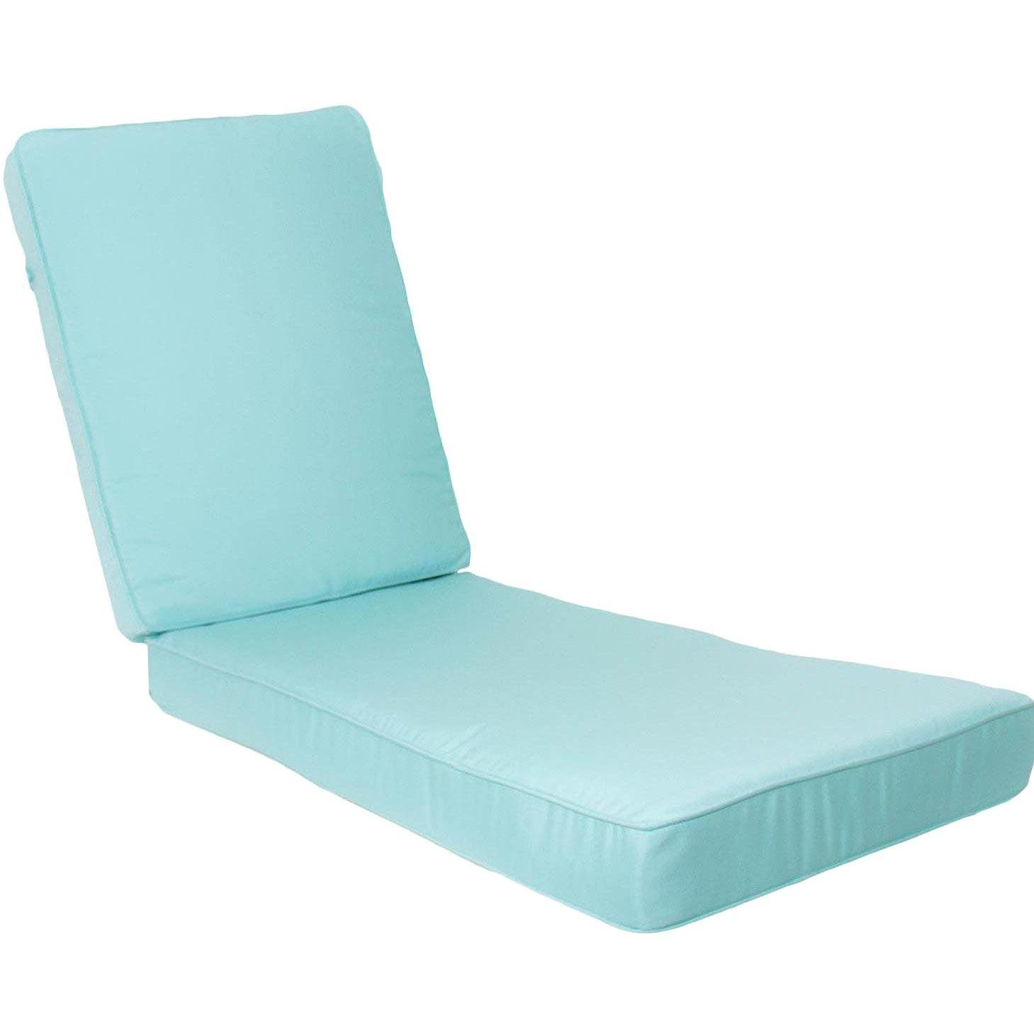 Ultimatepatio.com Long Replacement Outdoor Chaise Lounge Cushion With  Piping   Canvas Glacier. All