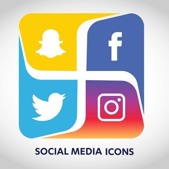 Social Media Icons Set Network Background Share Like