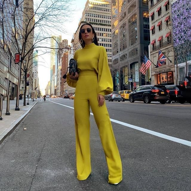 *Dominique* Lantern Sleeve Jumpsuit - Yellow / XL