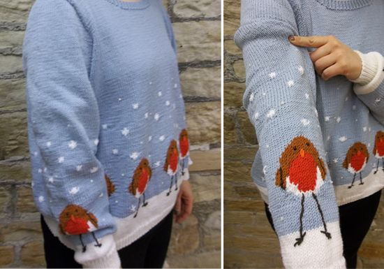 Free Knitting Pattern For A Christmas Jumper Knitted In Patons