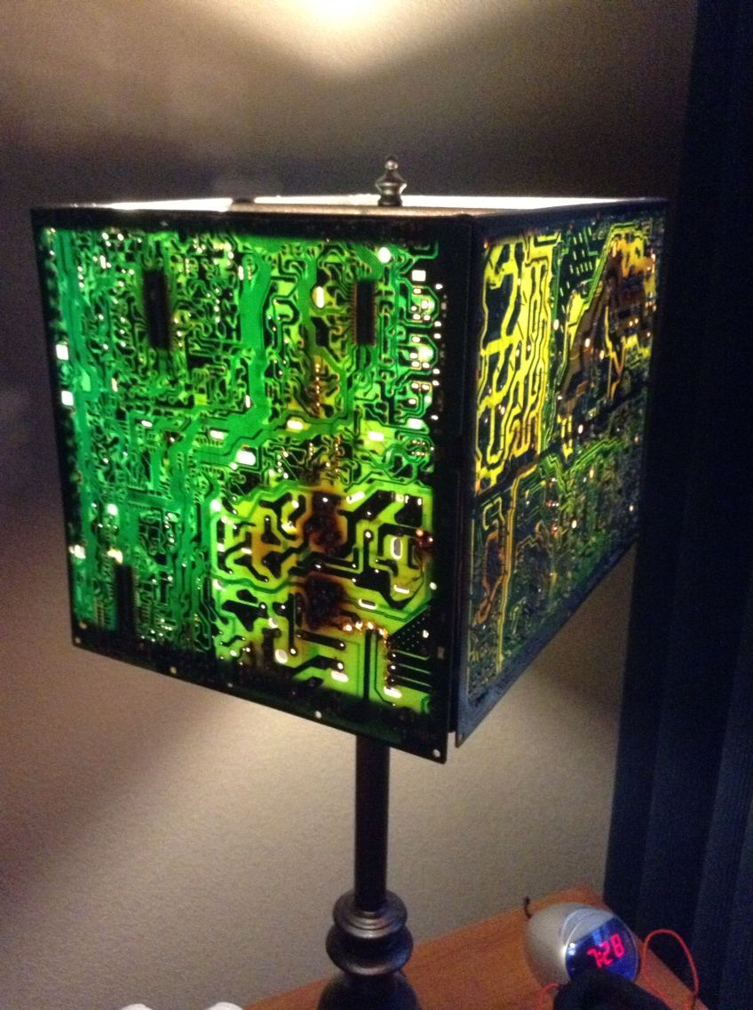 Circut board lamp shade made from old tv motherboards cool circut board lamp shade made from old tv motherboards mozeypictures Gallery