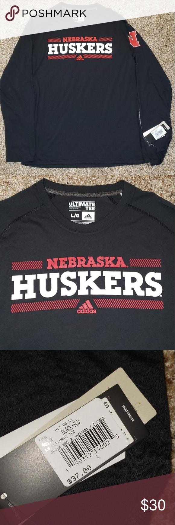 Men S Adidas Nebraska Huskers Black L S Top Adidas Men Long Sleeve Tshirt Men Tops [ 1740 x 580 Pixel ]
