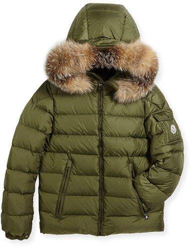 Moncler Boys Khaki New Byron Down Coat
