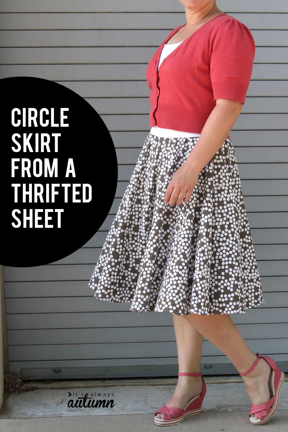 3a91b165f DIY circle skirt from a thrifted sheet | Free Sewing Patterns + ...