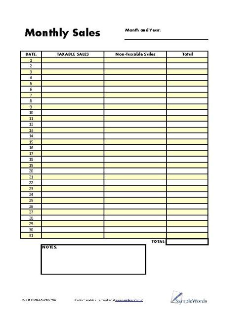 Monthly Sales Log  Template Form In Pdf Format  Logs Business
