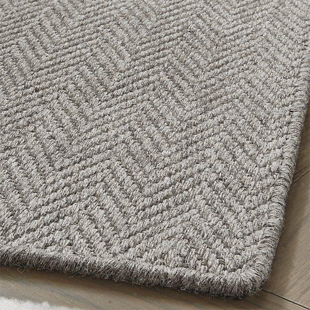 Herringbone Grey Wool Blend 4 X6 Rug Crate And Barrel Herringbone Rug Rugs Wool Carpet