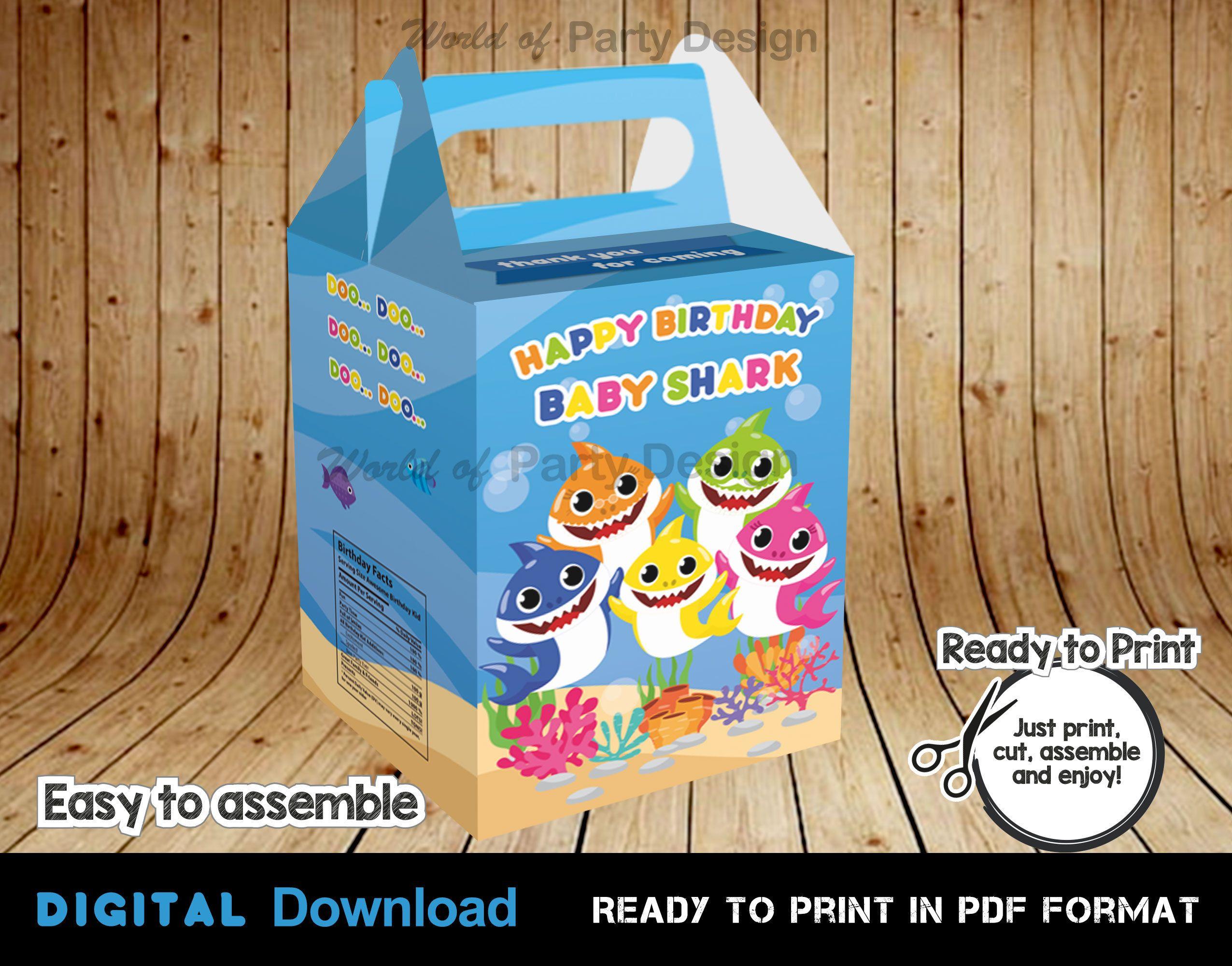Baby Shark Gable Box, Birthday decorations, Sea Theme Gift, Party Favors, Launch Box Present