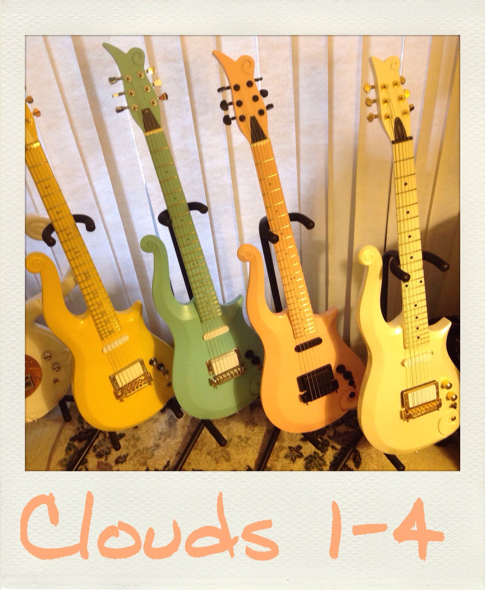 the yellow blue angel peach white clouds cloud guitar
