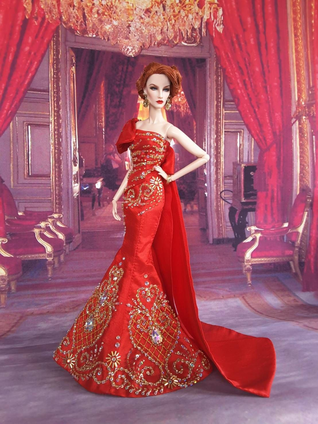 Amon Design Gown Outfit Dress Fashion Royalty Silkstone Barbie Model ...