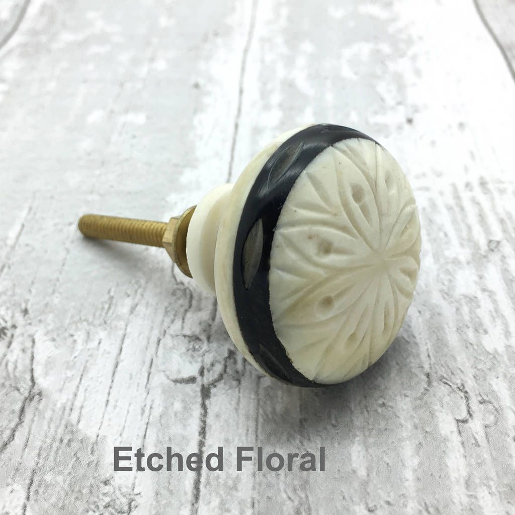 Etched Bone Cupboard Door Knob Drawer Pull Handle | Cupboard door ...