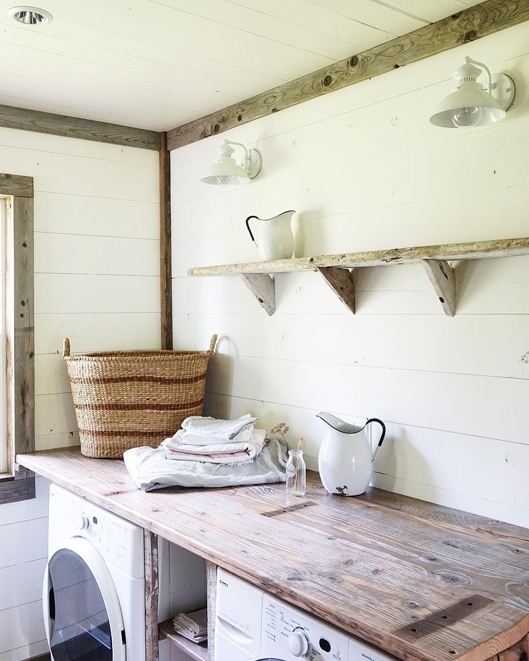 It would be cool to have an antique style laundry room with old wood ...