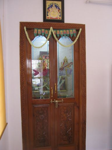 wood door with glass for pooja room - Google Search ...