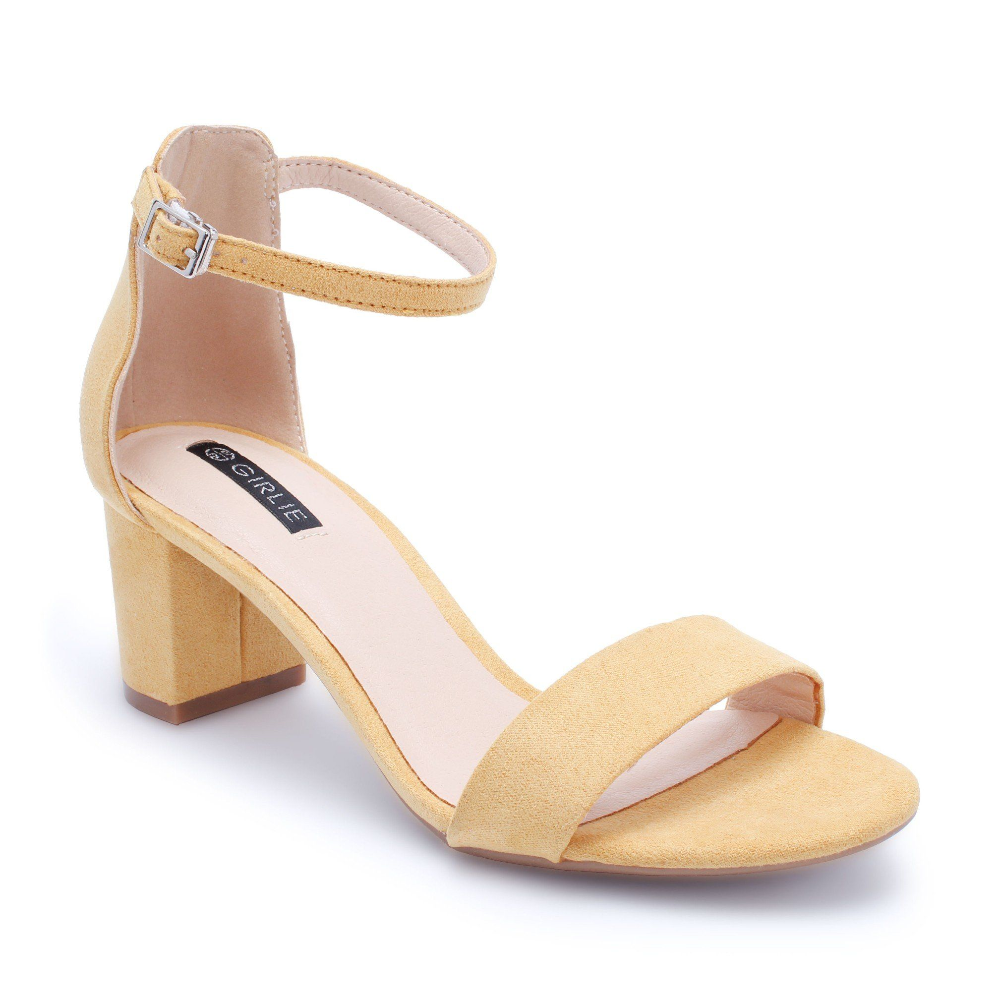 b3410715fde Low Block Heeled Sandals Black  White  Yellow by GIRLIE
