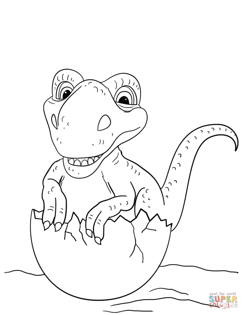 Dinosaur Hatching From Egg Coloring Page Free Printable Coloring Pages Dinosaur Coloring Pages Dinosaur Coloring Dinosaur Printables