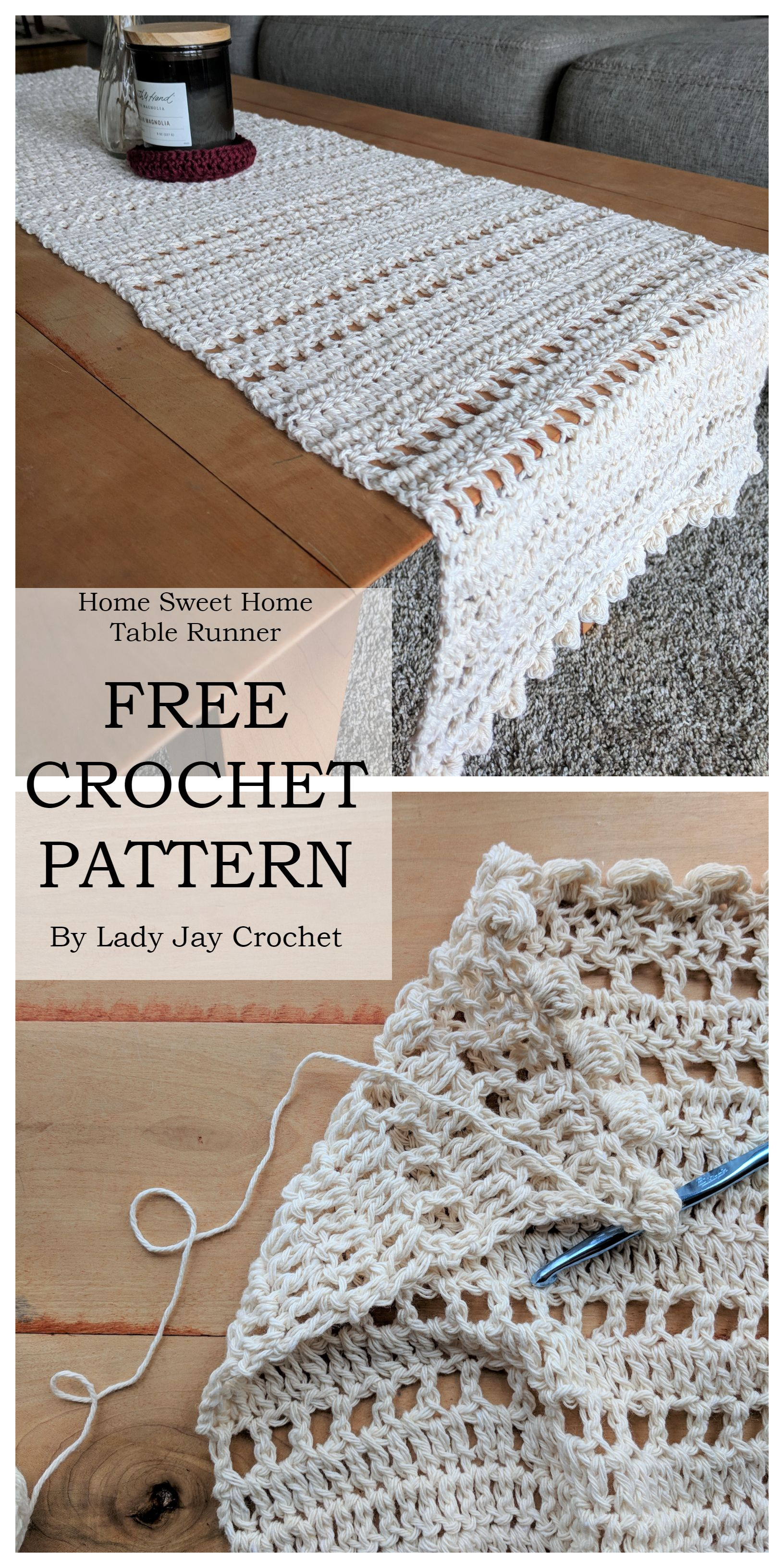 FREE CROCHET PATTERN: Home Sweet Home Table Runner by Lady Jay Crochet