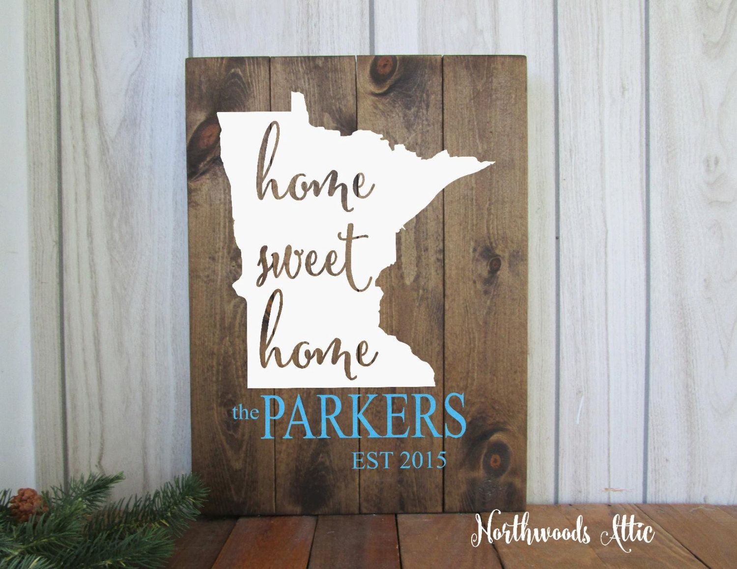 Personalized Last Name State Wood Sign - Custom State Home Sweet ...