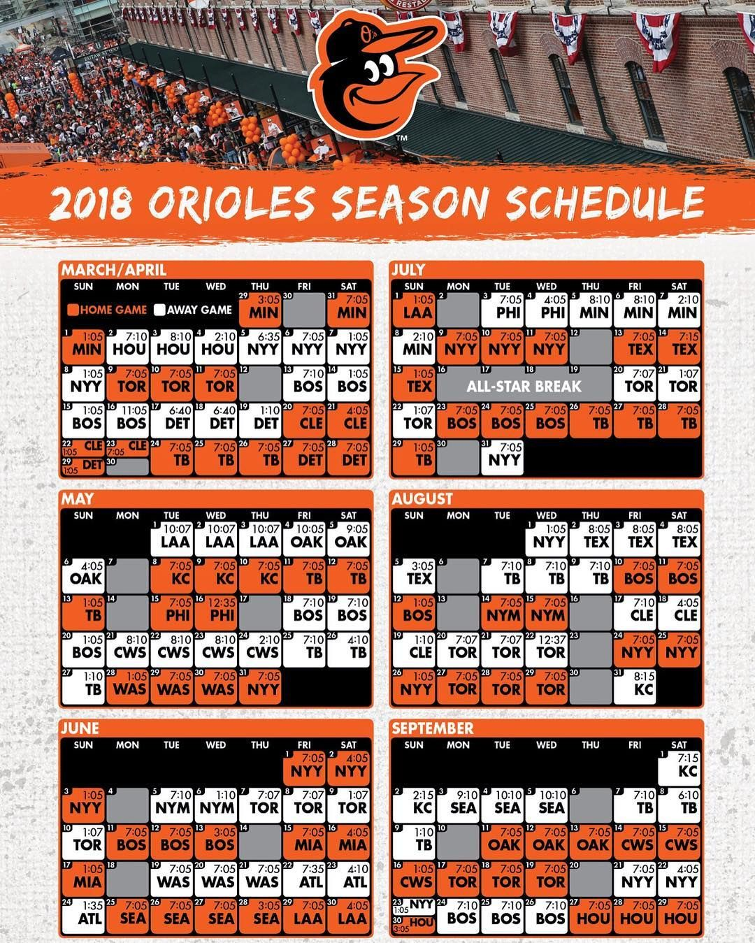 photo relating to Baltimore Orioles Printable Schedule named Heres the formal 2018 Orioles agenda! Opening working day is