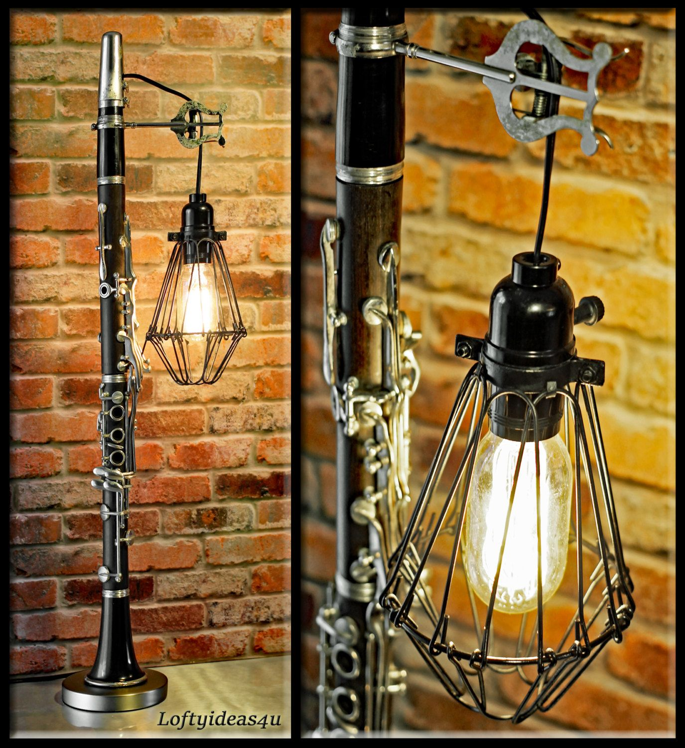 Repurposed black and silver woodwind clarinet with wire cage vintage repurposed black and silver woodwind clarinet with wire cage vintage edison light bulb table lamp upcycled greentooth Choice Image