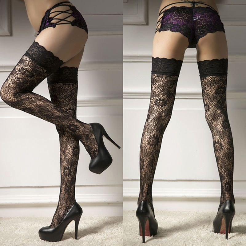 6f34acbaeda $3.11 AUD - Women Swxy Sheer Lace Top Thigh-Highs Stockings Garter ...