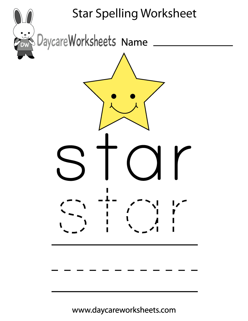 learn and practice how to spell the word star using this printable preschool worksheet. Black Bedroom Furniture Sets. Home Design Ideas