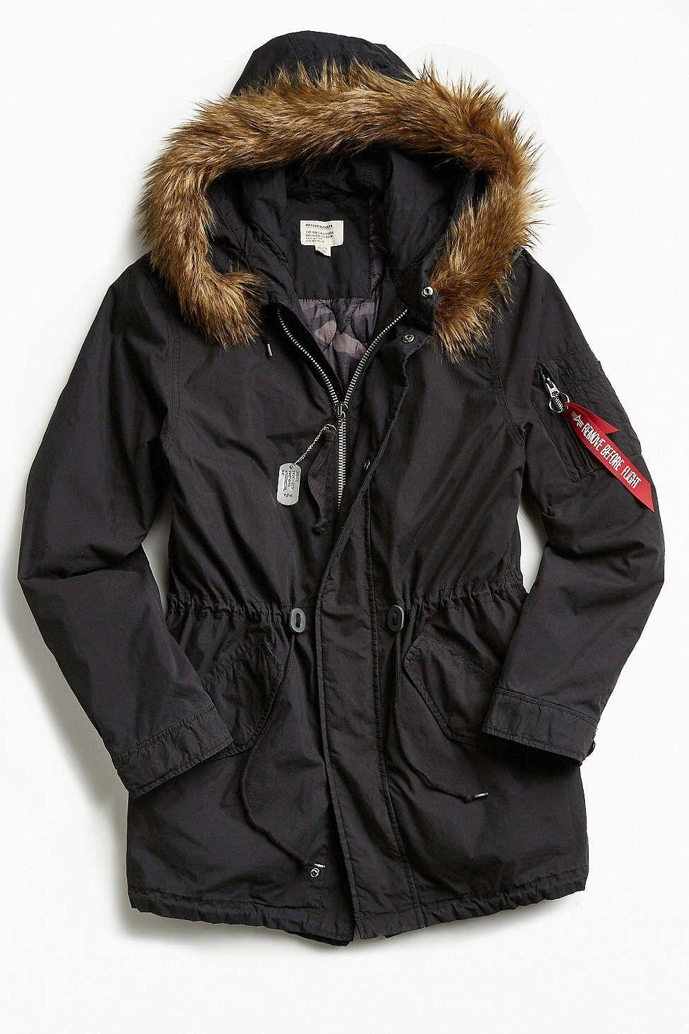 Alpha Industries J-4 Fishtail Faux Fur Parka Jacket | Faux fur ...