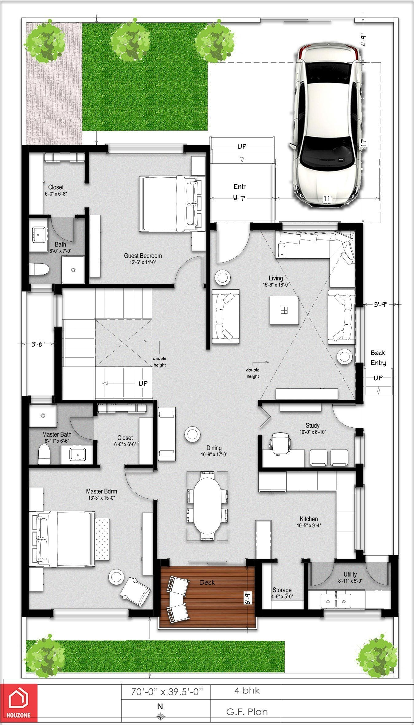 Modern House Floor Plan India A Beautiful 4 Bedroom Duplex House On A 300 Sq Yards Plot Duplex House Plans Duplex House Design Bungalow House Design