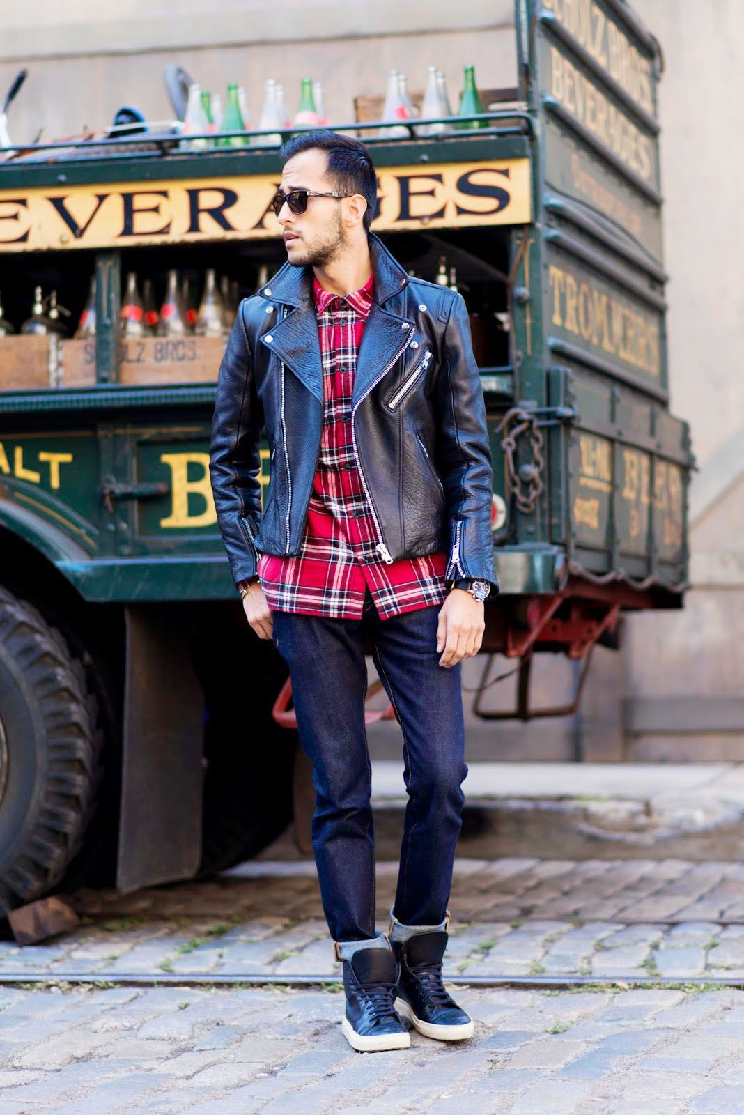 Themetroman Is Ready For Leather Weather In An H M Premium Quality Biker Jacket Red Plaid Flannel Shir Jackets Men Fashion Stylish Jackets First Date Outfits [ 1600 x 1068 Pixel ]