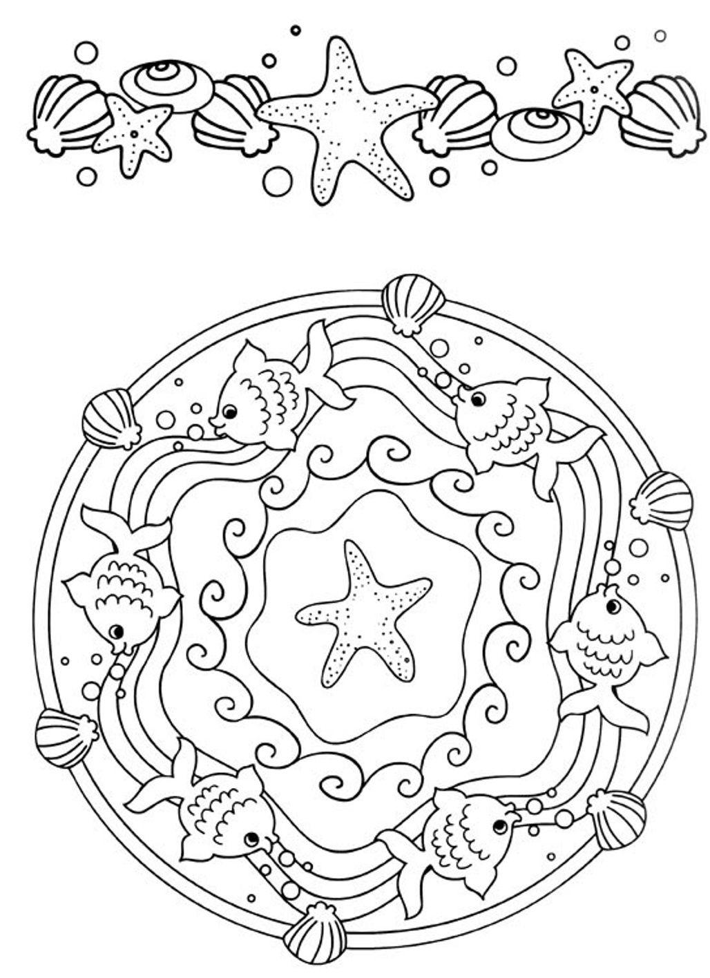 Mandala coloring pages beautiful ocean ocean pinterest