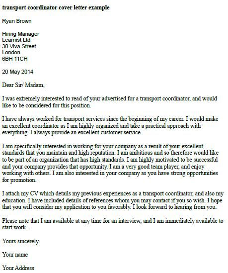 Transport Coordinator Cover Letter Example | Job cover ...