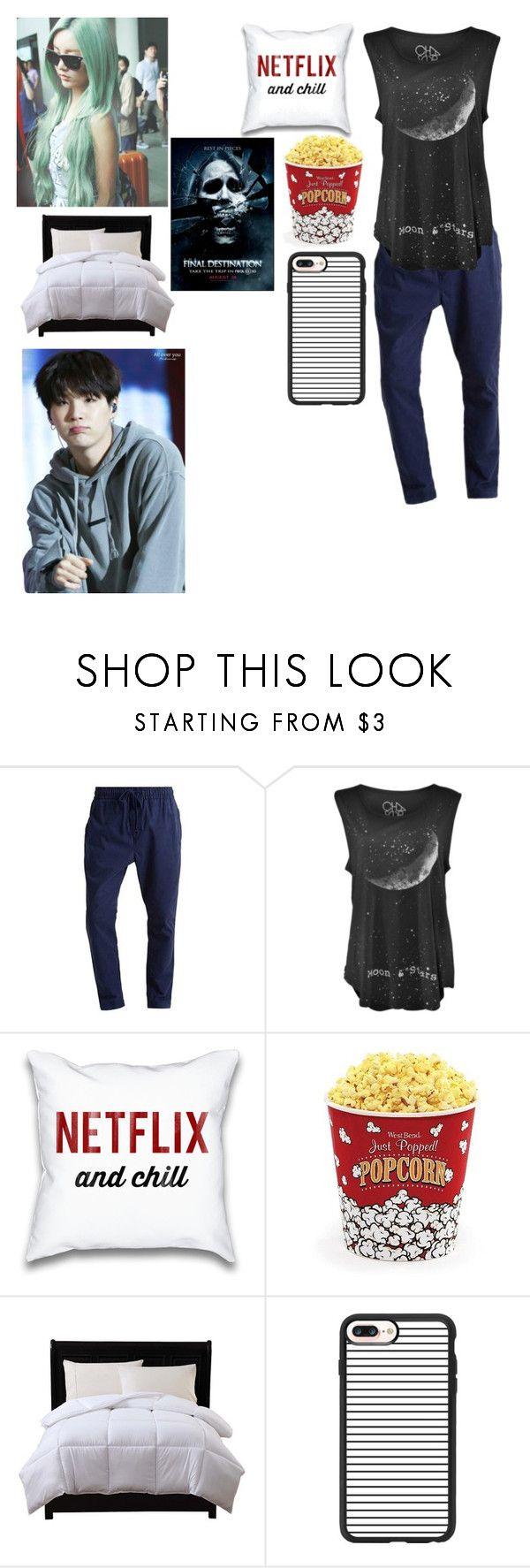 """""""movie night with Suga"""" by btsgirl1234 ❤ liked on Polyvore featuring Hilfiger, West Bend, Caribbean Joe and Casetify"""