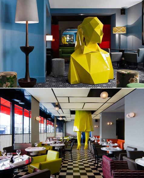 Café germain paris ème par india mahdavi statue