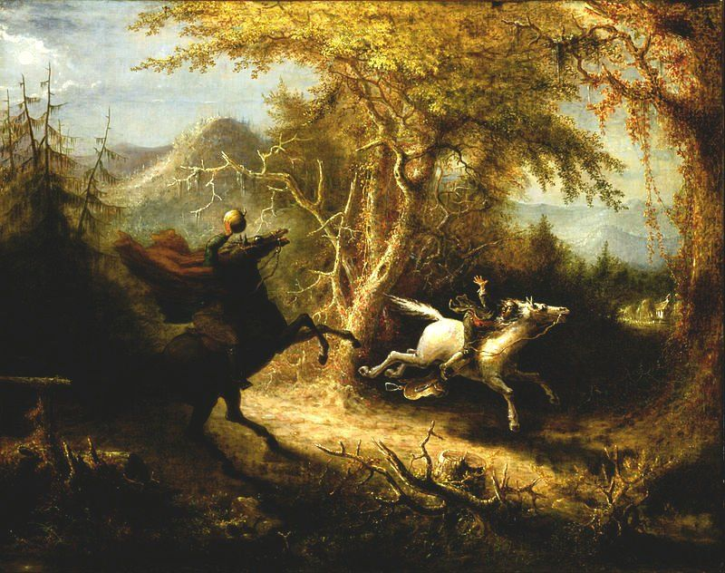 """John Constable on Twitter: """"The Headless Horseman Pursuing Ichabod Crane, by John Quidor 1858 Oil on Canvas (Smithsonian) #AllHallowsEve https://t.co/WKcY4LJl9L"""""""