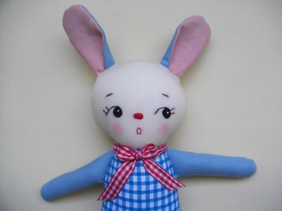 Vintage-inspired stuffed Bunny Plush - Handmade cloth doll Rabbit Plushie baby toy toddler toy #bunnyplush