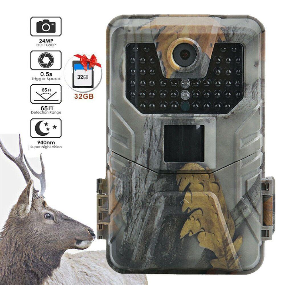 Outdoor Wildkamera 12MP 1080P Jagdkamera Nachtsicht Fotofalle Überwachungskamera