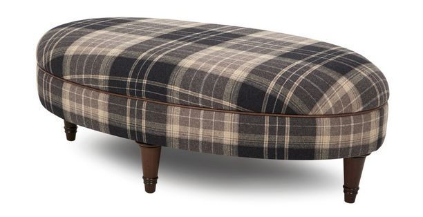 Moray Check Oval Footstool Moray Dfs Furniture Living Room