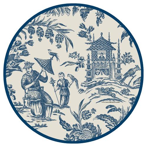 Caspari Silk Road Toile Blue White Asian Theme Designer Printed Paper Dinner Plates Wholesale 12470dp Blue Dinner Plates Plates Dinner Plates