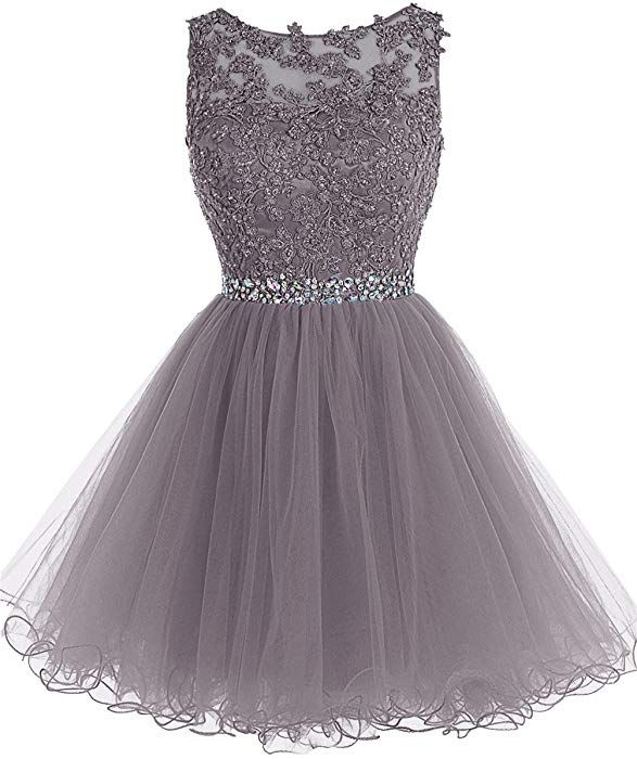 4b89e803feb9 Amazon.com: Tideclothes ALAGIRLS Short Beaded Prom Dress Tulle Applique  Homecoming Dress Grey US2: Clothing