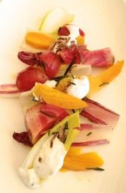 At Montage, Laguna Beach an endive salad with roasted baby beets and rosemary crème fraîche, topped with crispy shallots ($21) – a nice contrast in both flavors and textures;