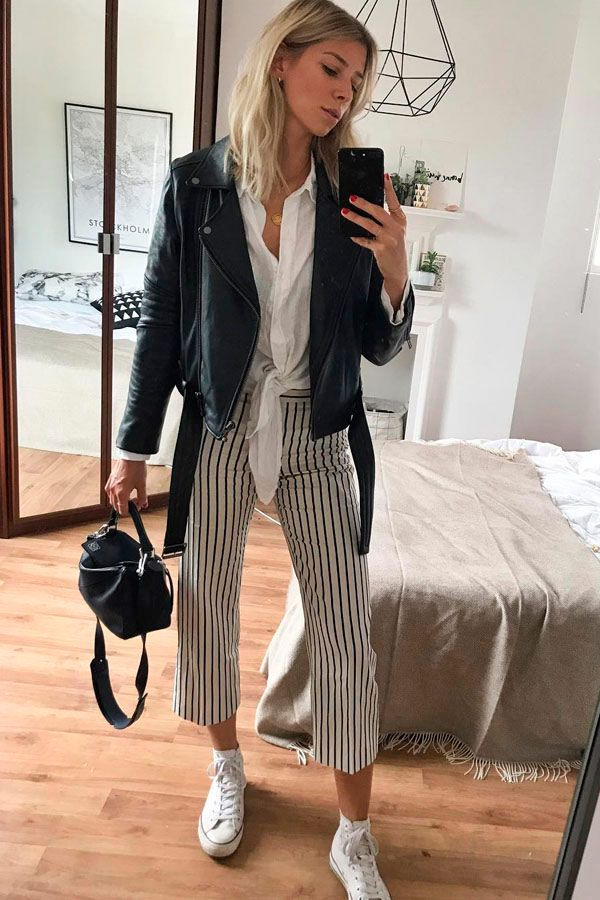 Pin by d a n i ☽ on   wear it's at - spring/summer     Pinterest   Stripe  pants, Leather jackets and Leather