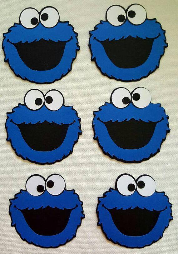Cookie monster die cut set of 6 cookie monster sesame street cookie monster die cut juego de 6 por debrascutsandcrafts en etsy voltagebd Images