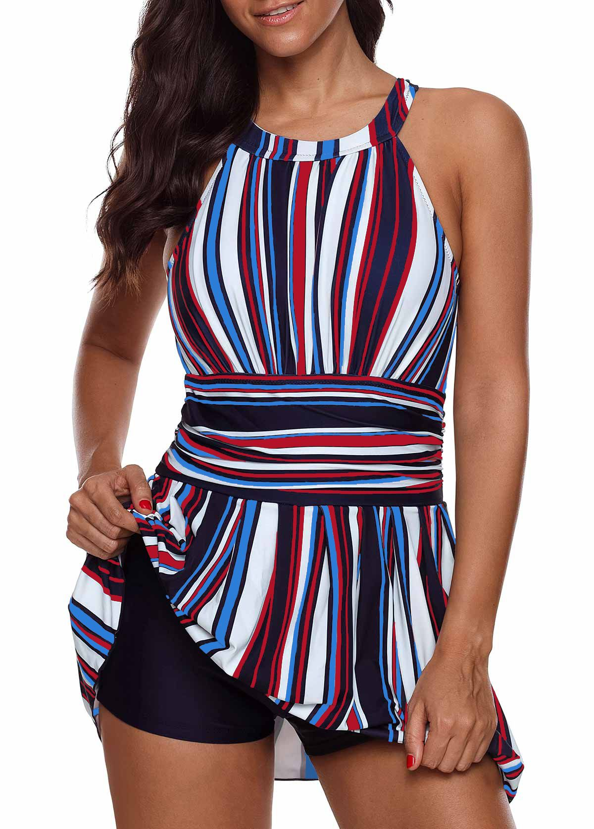 c729eeae46b19 Cutout Back Multicolor Striped Padded Swimdress and Shorts #liligal # swimwear #swimsuit